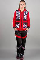 Спортивный костюм Анжелика (красный цветы)