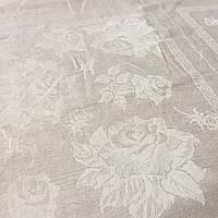 Лён скатертной жаккардовый с розами, ширина 160 см, фото 1