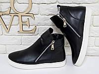 Ботинки хайтопы черного цвета из натуральной кожи с двумя молниями