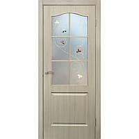 Двери межкомнатные Омис Классика СС+КР ПВХ со стеклом и контурным рисунком, цвет дуб беленый