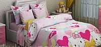 Детский полуторный комплект Hello Kitty-8 (Китти), бязь (хлопок)