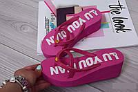 Вьетнамки (шлепки) пляжные на танкетке розовые LU