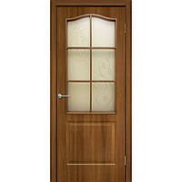 """Дверь межкомнатная """"Классика СС+КР ПВХ"""" со стеклом и контурным рисунком, цвет ольха европейская"""