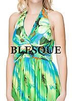 Платье  длинное цветы зеленое