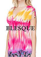 Платье короткое желто-розовое