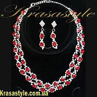 Роскошный вечерний набор украшений Красные камни, Серебро, фото 1