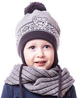 Теплая шапочка на флисе мальчику 1-3 лет (обхват головы 44-50 см)