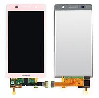 Оригинальный дисплей (модуль) + тачскрин (сенсор) для Huawei Ascend P6 (розовый цвет)