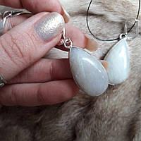 Серьги с лунным камнем. Шикарные серьги - натуральный лунный камень. Индия!