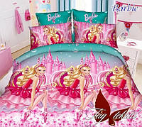 Постельное белье, детское, полуторное, ткань ранфорс, состав хлопок, простыня 150x220, Barbie