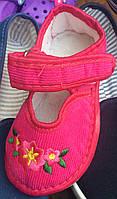 Детские тапочки оптом 13-17,5 розовые цветочки, фото 1