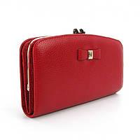 Кожаный кошелек Prensiti красный женский на защелке