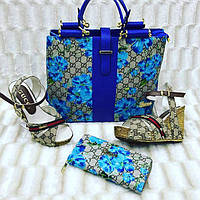 Набор GUCCI сумочка, босоножки, кошелек цвет:синий