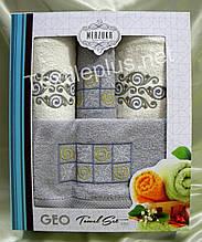 Турецкие махровые полотенца Merzuka Geo 100% хлопок махра - 2 банных + 2 для лица