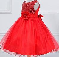 Нарядное платье  с паетками красное для девочки на 2 года