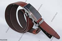"""Ремень мужской зажим-автомат темно-коричневый (кожа, 35 мм.) """"Remen"""" - купить оптом со склада на 7км LM-638"""