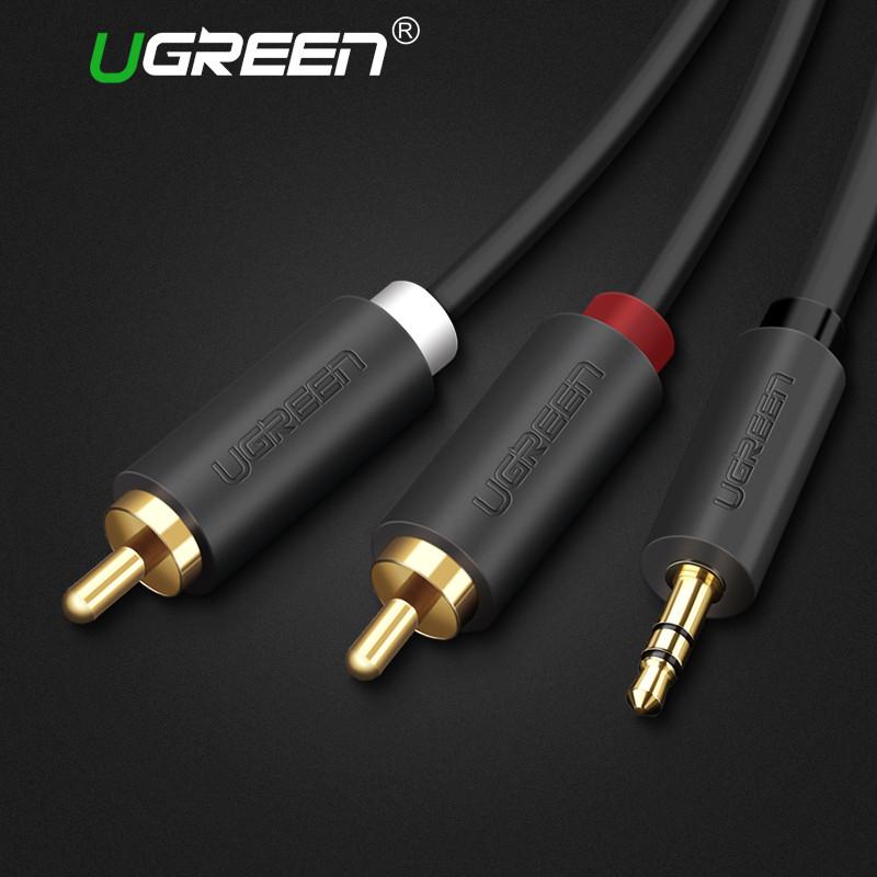 Ugreen 2RCA (тюльпан) к 3.5 мм aux кабель