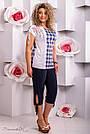 Женская блузка туника в клетку, микромасла с цветочным принтом, большой размер , фото 3