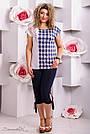 Женская блузка туника в клетку, микромасла с цветочным принтом, большой размер , фото 2