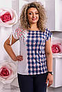 Женская блузка туника в клетку, микромасла с цветочным принтом, большой размер , фото 4