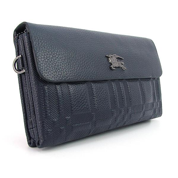 Клатч кожаный мужской clutch синий Burberry 1207-4