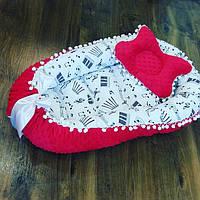 Кокон-гнездышко для новорожденных красный с узорами + ортопедическая подушка, фото 1