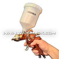 Пистолет покрасочный пневматический HVLP, форсунка 1,5 мм, В/Б пластик, 600 мл., 3.0 bar