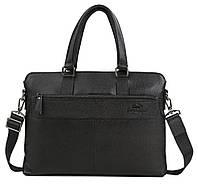 Мужская кожаная сумка для ноутбука черная TB 00384