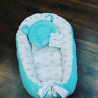 """Кокон-гнездышко для новорожденных """"Мята с белым"""" + ортопедическая подушка, фото 1"""