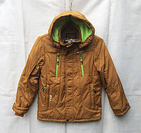 Куртка демисезонная подростковая для мальчиков 10-14 лет,золотистая