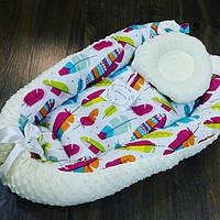 """Кокон-гнездышко для новорожденных """"Цветные цветочки"""" + ортопедическая подушка"""