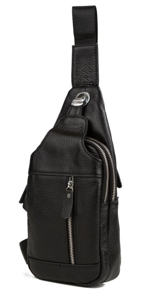 4a96aa1ce695 Удобная мужская кожаная сумка на плечо черная TB 00388 купить в ...
