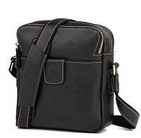 Функциональная мужская кожаная сумка черная с кожаным ремнем TB 00395