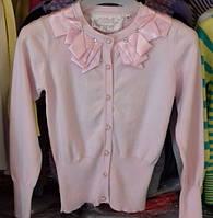 Красивая подростковая розовая кофта с атласным воротом, р. 120-160