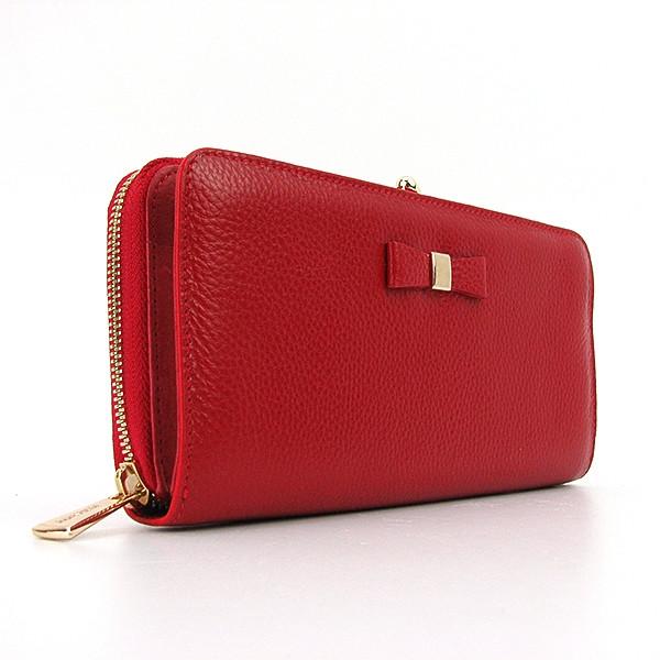 Кошелек кожаный на молнии женский красный Prensiti 164-2256