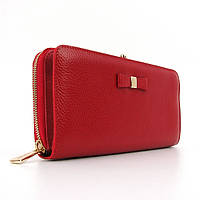Кошелек кожаный на молнии женский красный Prensiti 164-2256, фото 1