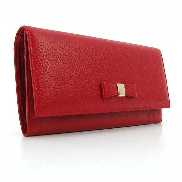 Кошелек кожаный на кнопке женский красный Prensiti 164-2255