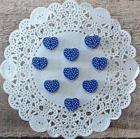 Пуговицы декоративные Синие сердечки в горошек, 15мм, 10шт/уп