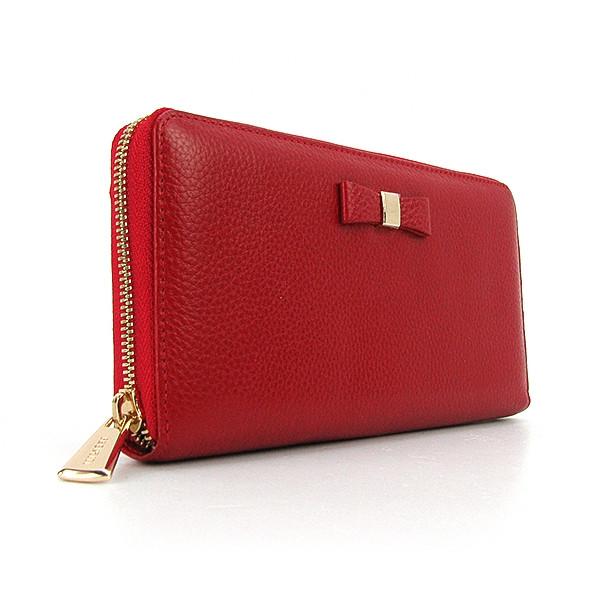 Кошелек кожаный на молнии женский красный Prensiti 164-2253