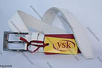 """Ремень подростковый шпенек белый (кожа, 30 мм.) """"Remen"""" - купить оптом со склада на 7км LM-638"""