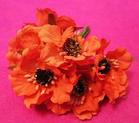 Маки из ткани уп. 60 шт. Оранжевые