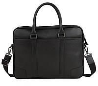 Мужская кожаная сумка-портфель для ноутбука черная TB 00401