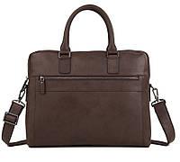 Мужская кожаная сумка-портфель для ноутбука коричневая TB 00402