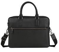 Элегантная мужская кожаная сумка-портфель для ноутбука черная TB 00403