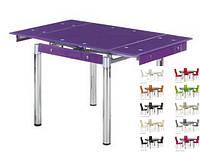 Стол стеклянный раскладной ТВ21 фиолетовый обеденный, 80/130*65*75 см