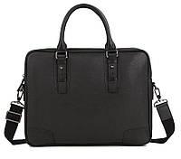Деловая Мужская кожаная сумка-портфель для ноутбука черная Norfolk (00669)