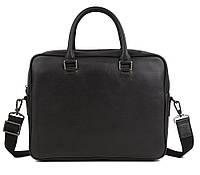 Изысканная мужская кожаная сумка-портфель для ноутбука черная TB 00405