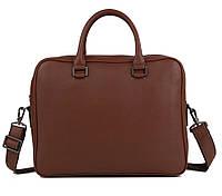 Изысканная мужская кожаная сумка-портфель для ноутбука коричневая TB 00406