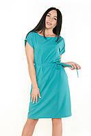 Летнее женское платье-батал без рукава с поясом
