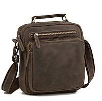 Изящная мужская кожаная сумка-барсетка из лошадиной кожи цвета хаки TB 00407
